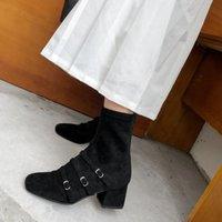 kahverengi şık toptan satış-Kış Çizmeler Kadın Siyah Kahverengi Kırmızı Süet Ayak Bileği Çizmeler Kadınlar Için Chic Kare Ayak Orta Tıknaz Topuklar Zapatos De Mujer Geri Fermuar