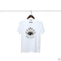 bordado de cuentas camiseta al por mayor-19SS Camisetas de diseñador para mujer Pieza de abalorios de cabeza de tigre clásico bordado Costura Impresión de ojos Nueva tendencia Algodón Negro Diseñador blanco Camisa