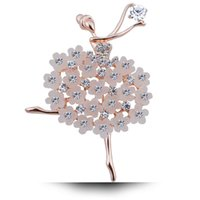 Wholesale ballerina pin resale online - Fashion Shinning Women s Brooches Rhinestones Crystal Ballerina Dancing Girl Brooch Pin Fashion Jewelry Decoration Brooches Styles