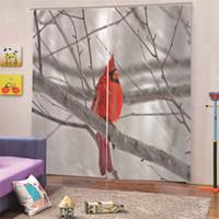 ingrosso camera da letto rosso nero-3D Digital Print Red Bird Tende oscuranti moderne per tende da finestra Economici per soggiorno Camera da letto Home Decor Draps AP26