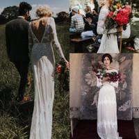 Wholesale sheath low back wedding dresses resale online - Vintage Lace Applique Bohemian Country Long Sleeve Wedding Dresses Plus Size Low Back Applique Edge Garden Beach boho Wedding Gown
