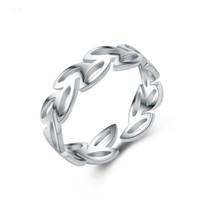 rhodium 925 ringe großhandel-Neue Band Hochzeit Rhodium Überzogene Hohle Blätter Form Offene Ringe 925 Sterling Silber Einstellbar Ring Schmuck Für Mädchen Frauen Geschenke