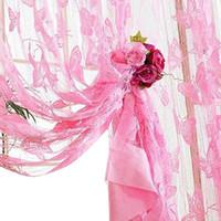 kapı perdeleri kelebek toptan satış-Kelebek Püskül Dize Tül Voile Perde Şeffaf Oda Bölücü Perdeler Kapı Çiçek İşlemeli Shaggy Kelebek Şeffaf Voile
