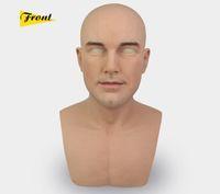 silicone face realista venda por atacado-Pele real do dia das bruxas do sexo masculino látex realista adulto silicone máscara facial para o homem cosplay festa fetiche
