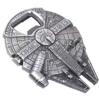 gastbevorzugungen für hochzeiten großhandel-1 PCS Falcon Metalllegierung Flaschenöffner Spaceship Legierung Silber Millennium Metall Flaschenöffner für Bier