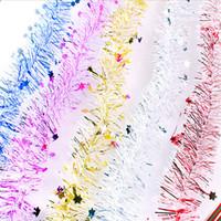oropel de arboles de navidad al por mayor-Ancho 7 cm Color de la mezcla Tinsel Garland Ribbon con estrella Colgando Decoraciones para el árbol de navidad para el Festival de Navidad Fiesta Jardín Tienda Ventana