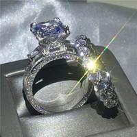 torre eiffel conjunto venda por atacado-2019 choucong Torre Eiffel Forma anel 8ct zircão cz s925 prata esterlina faixa de noivado anéis de casamento set para as mulheres de noiva bijoux s18101608