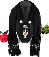 Wholesale hijab scarves for women resale online - Fashion Femme Scarves Single Colourful Owl Pendeloque Cut gifts for Women Solid Hijab Head Necklace Scarf Elegant Accessories