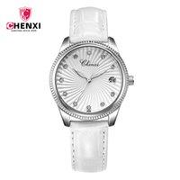 rhinestones de reloj de pulsera blanco al por mayor-Reloj de cuero CHENXI para mujer, relojes de pulsera de cuarzo de moda para mujer, reloj impermeable 30M, reloj de pulsera para mujer blanco, diamantes de imitación 069M