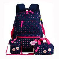рюкзаки рюкзаки для девочек оптовых-Girls Bow nylon Backpacks Girls Teenagers School Bags 3 Pcs/Set Schoolbag Large Capacity star Printing School Rucksack SBT1004