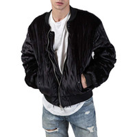 ingrosso morsetto-New Hiphop Clamping Cotton Kanye West Oversize Men Fashion Velvet Bombardieri angosciati MA-1 Zipper Jacket Coat Capispalla