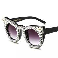 lunette soleil güneş gözlüğü toptan satış-Vintage Kadınlar Rhinstones ile Kedi Göz Inci Güneş Gözlüğü Lunette Soleil Femme UV400 Cateye Kristal Güneş Gözlükleri Kadın Marka Shades
