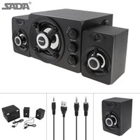 Wholesale SADA D Mini Black W Wooden D Surround Sound Subwoofer Music USB Computer Speaker with Luminescent Multicoloured Lamp SSB_10M
