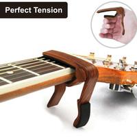 guitare électrique acoustique gratuit achat en gros de-Guitare Capo pour guitare électrique électro-acoustique Ukulélé Mandoline Banjo, Folk guitare capo-rose grain de bois motif Sapele Livraison gratuite