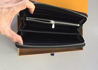 venta de billetera larga al por mayor-2019 vendedor caliente de la cartera del diseño largo de las carteras de cuero de alto grado del bolso de embrague cremallera monedero bolso 60017
