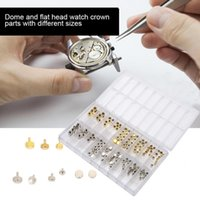 серебряные головные головки оптовых-Watch Crown Parts Replacement Waterproof Assorted Gold & Silver Dome Flat Head Watch Accessories Repair Tool Kit For Watchmaker