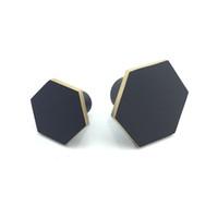 Hexagon Brass Kitchen Cabinet Knobs and Pulls Matte Black Drawer Dresser Cupboard Wardrobe Knobs Handles Hardware