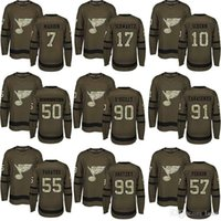 Wholesale salute service ice jerseys for sale - Group buy St Louis Blues Stanley Cup Champions Ryan O Reilly Binnington Schwartz Authentic Green Salute to Service hockey Jerseys