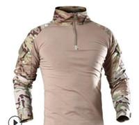militar homens camisa t venda por atacado-ReFire Engrenagem Homens Tático Militar T-shirt de Manga Comprida SWAT Soldados Combate T Shirt Airsoft Roupas Camuflagem Do Exército Do Homem Camisas S917
