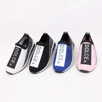 ayakkabı tabanları için kauçuk toptan satış-Moda ayakkabı çocuk spor koşu sneaker streç vamp + kauçuk taban erkek bebek kız siyah pembe atletik rahat sneakers ücretsiz kargo ...
