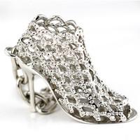 новые туфли на каблуке модели оптовых-Charm Keychain High Heels Shoe Pendant Model Keychain Women Crystal Trendy Purse Bag Buckle Bag Bright Car Keyring New Arrival