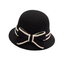 fieltro sombreros de cubo al por mayor-Las mujeres imitación de fieltro de lana de pesca del sombrero del cubo con el borde Mujer arco sombreros flexibles más cálidas Caps Solid
