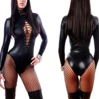 Wholesale erotic leather female costumes resale online - KLV Porn Sexy Underwear Women Erotic Lingerie Leather Latex Dance Club Babydoll Costume Female Black Slim Sexy Bodysuit Romper Y200401