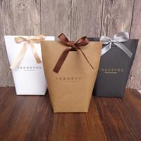 ingrosso matrimonio ringraziamenti borse-Grazie Merci Gift Wrap Gift Bag Wedding Birthiday Bomboniere Borse Handmade Item Bag Candy Jewelry Cravatte Packaging Box pieghevole