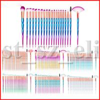 ingrosso maneggiare il colore dei capelli-20pcs Pennelli Set Pro Pennelli per trucco Kit manico in plastica per capelli sintetici per viso Pennello per ombretto labbra
