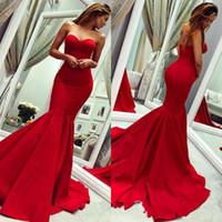 sereia querida vestido de baile querida venda por atacado-Glamorous Querida Sem Mangas Prom Dress Red Sereia Vestidos de Noite Babados Sem Encosto Na Venda Vestidos Baratos BC0445