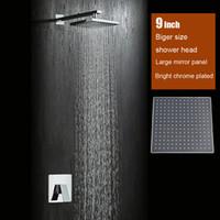 badspiegel kostenloser versand großhandel-Badezimmer 9 zoll regenduschkopf wandbrause set messing bad wasserhahn spiegel verchromt kostenloser versand