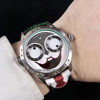 relógios russos venda por atacado-Único rosto sorridente Konstantin Chaykin Coringa Verde Interior Cinza Coringa Dial Russo Tempo Swiss Quartz Mens Watch Couro Preto Vermelho Relógios Tie