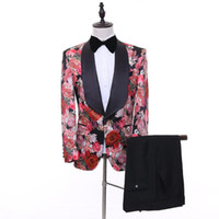 Wholesale best flower suits for sale - Group buy Real Image Wedding Tuxedos Shawl Lapel Printed Rose Flower Groom Men Suits Wedding Prom Dinner Best Man Blazer Jacket Bow Pants Tailor Made