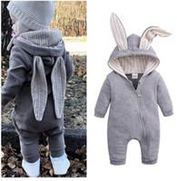 bebek tavşan kostümü toptan satış-Çocuk giysi tasarımcısı Bebek Giyim Tulum Bahar Sonbahar Bebek Tulum Tavşan Kız Erkek Tulum Çocuklar Kostüm Kıyafet Yenidoğan Bebek Giysileri
