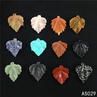yaprak taşı kristali toptan satış-Doğal Taş Kolye Kolye Gül Şifa Kristaller Kuvars Yaprak Şeklinde Kolye Kolye