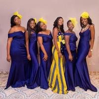 ingrosso vestito dalla damigella d'onore del raso pieghettato viola-Nigerian African Purple economici semplice 2019 sirena abiti da damigella d'onore pieghe in raso off spalla damigella d'onore abiti da festa di nozze