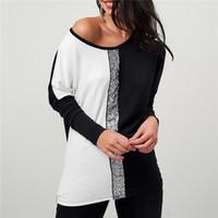 Plus Size Sequin Embellished Cold Shoulder T Shirt | USD $29.76