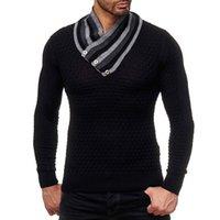 ingrosso maglioni uomo argyle-Uomini maglione dolcevita Argyle modello Designer molla Mens calda lavorata a maglia maglioni di lana Pullover Formato più 3XL Stile Europeo A372