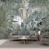 Wholesale dining room art paintings resale online - Custom Mural Wallpaper Nordic Tropical Plant Tree Animal Elephant Landscape Art Wall Painting Dining Room Living Room D Sticker
