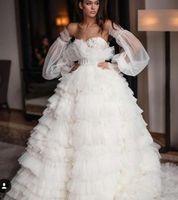 zuhair murad ball weißes kleid großhandel-Abendkleid Yousef aljasmi Labourjoisie Zuhair murad Ballkleid Liebsten Langarm Weiß Tüll Schärpe Cascading Rüschen Langes Kleid