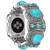ingrosso orologi in boemia per le donne-Per cinturino Apple Watch Watch 38/40/42 / 44MM iWatch cinturino in stile etnico antico bohemien con ragazze turchesi