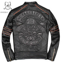 punk bombardıman ceketi toptan satış-Artı Boyutu hakiki Retro yapımı inek deri ceket erkekler siyah punk vintage Işlemeli Kafatasları yıpranmış Motosiklet bombacı ceketler coat