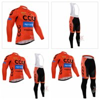 Wholesale mountain bikes jersey pants for sale - Group buy CCC team Outdoor sports Mens Long Sleeves Cycling Jersey bib pants sets and Long Tops Mountain Bike Riding clothing Q72010