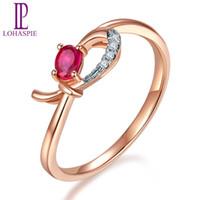 precio de diamante rubí al por mayor-Lp Piedras preciosas naturales Ruby Diamond Sólido 9k 10k 14k18k Rose Anillos de compromiso en línea Oro Joyería de diamante Precio de fábrica Y19052301