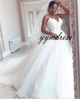 African Beach Wedding Dresses 2019 Sweetheart Neck Lace Appliques Sweep Train Bridal Dress Wedding Guest Dress Plus Size