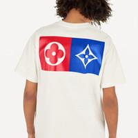 camisas de manga venda por atacado-19ss monograma carta geométrica impresso moda t-shirt de verão respirável t casual simples homens mulheres rua manga curta hfhltx024