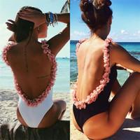 bikini karışık toptan satış-Kaçak Geri Mayo Çiçek Mayo Seksi Bikini Yapışık Kadınlar Derin U Backless Renkler Mix Yaz Plaj Moda 21oyf1
