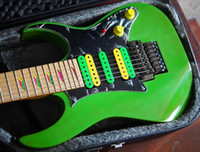 verrou de corde de guitare électrique achat en gros de-UV777 Univers 7 cordes Vai Green Guitare électrique HSH Micros, écrou de blocage Floyd Rose Tremolo, incrustation de la pyramide disparaissante, matériel noir