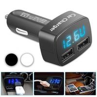 Wholesale led voltmeter 12v for sale - Group buy Dual Ports A USB Car Cigarette Charger Lighter V V Digital LED Voltmeter Free Shpping