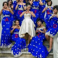 afrikanischen königlichen blauen schnürsenkel großhandel-2019 Royal Blue Mermaid Brautjungfernkleider Lange Spitze Appliques Afrikanische Frauen Abendgarderobe Partykleid Mode Plus Size Trauzeugin Kleider